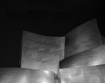 black and white photography, architecture, LA, minimalist, walt disney concert hall, frank gehry, los angeles, downtown, urban, night