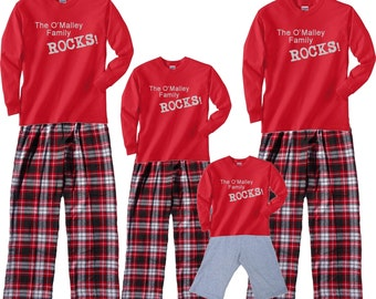 Personalized Family Rocks! Matching Outfits - FREE SHIP, Each Shirt-Pant Set Sold SEPARATELY, Adult and Children Sizes, Dog Bandana