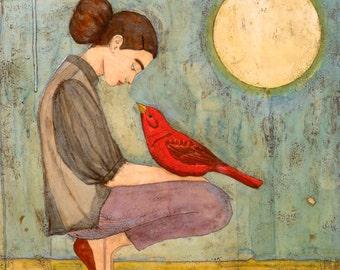 Radiance -Cardinal bird painting, cardinal art, inspiring art, red bird painting, inspirational gift, inspirational wall art
