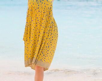 Holly Dress, Beach Dress, Sundress, Summer Dress, Womens Sundress, Yellow Polka Dot Dress, Spaghetti Strap Dress, 103-112