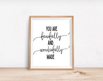 You Are Fearfully and Wonderfully Made, Nursery Art, Typography Print, Typography Art Print, Quote Art, Nursery Wall Art, Inspirational Art