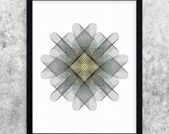 Abstract Art Printable, Teal & Yellow, Digital Download, Modern Art Print, Minimalist Wall Art, Home Decor, Geometric Print, Spirograph Art