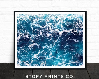 Ocean Print, Beach Wall Art, Ocean Wall Art, Large Poster, Beach Photography, Ocean Wave, Beach Print, Water Print, Sea Art, Sea Print, Blue