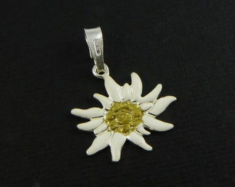 Edelweiss Silver Pendant enamelled - mountain passion