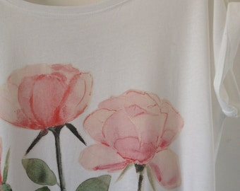 Roses Handpainted Digitally Printed on Organic Cotton T-shirt and Ethically Made