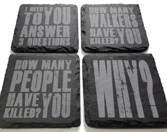 The Three Questions Engraved Slate Coaster Set