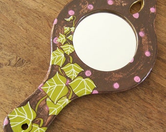 Retro mirror, hand mirror, mirror painted