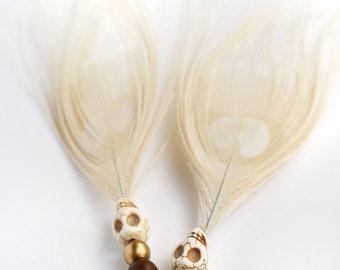 Feather earrings / Feather jewelry / Skull earrings / Albino peacock feathers / Peacock earrings / Skull jewelry / Gypsy earrings