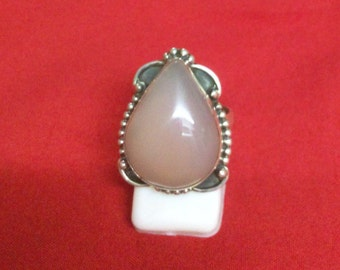 Pink Onyx with 92.5 Sterling Silver Ring Pear Shape Ring