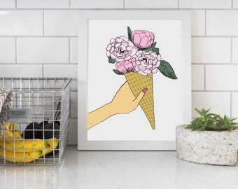 Floral Ice Cream Cone Digital Download Print