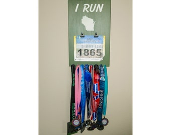 "Handmade Running Medal & Bib Hanger/Holder/Display ""I RUN 'Wisconsin'"""