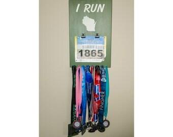 """Handmade Running Medal & Bib Hanger/Holder/Display """"I RUN 'Wisconsin'"""""""