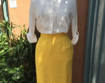 Bright yellow pencil skirt size 8