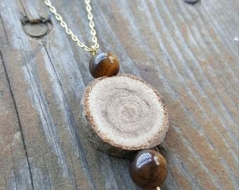 Wood & Tiger Eye Necklace
