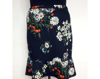 STRAIGHT SKIRT With Volant, Lined xxl xxxl Made of Black Stretch Cotton Printed With Floral Design