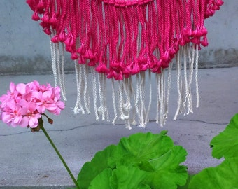 Macrame Colorful Beads Modern Wall Hanging/ Bohemian Hippie Decor/ Hand dyed Wall Art/ Hot Pink and Cream Wall Decor/ Wall Tapestry