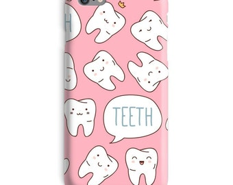 Teeth iPhone 7 Case, Tooth iphone case, Dental iphone 6 case, Dentist iphone 6 case, Cute iphone 6s case, Pink iphone case, iphone 7 plus