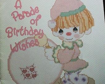 Precious Moments Cross stitch book-A Parade of Birthday Wishes-Vintage Precious Moments-Birthday Cross stitch pattern book