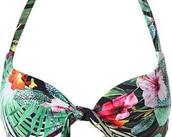 all bikini CALZEDONIA swimwear * pushup fancy tropical lilium + low Brazilian