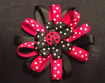 Handmade lady bug hair bow