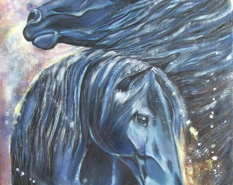Painting, oil on canvas, 60cmx50cm, black horses