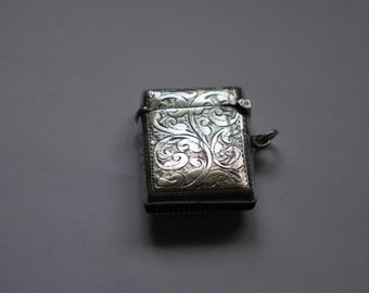 Silver Match Holder with Striker made in 1928 by John Rose Silversmiths - Birmingham, England