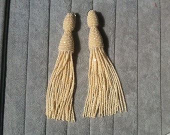 Long tassel earrings beaded Oscar De La Renta tassel earring bead long tassle clip on earrings