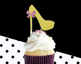 12 hight heel cupcake toppers, glitter party decoration,company party, birthday party,bridal shower, gold glitter cupcake topper