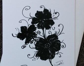 Black and white greeting card - NBC-FL-DRR-0009