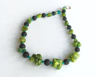 Apple Green Turqoise * Sleeping Beauty Turquoise * Black Lava * Single Strand * Necklace * Sterling Silver Clasp
