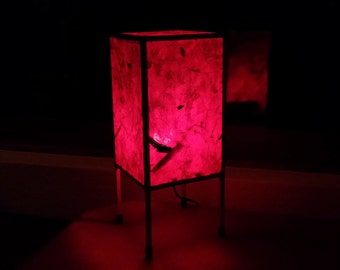 Table lamp or accent lamp handmade with Thai Banana Leaf Paper