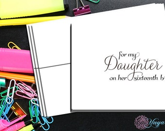 Mother to daughter cards sixteenth birthday/ To my daughter on her 16th birthday/16th birthday notes/ Sweet Sixteen notes