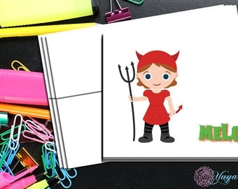 girl devil Halloween Note Cards / Custom halloween Stationery / Halloween Stationery Set / Custom Thank You Cards / Set of 12 Notes