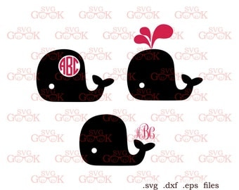 Whale Monogram Frame Svg Dxf cut files for Cricut Silhouette, Whale svg, Whale dxf