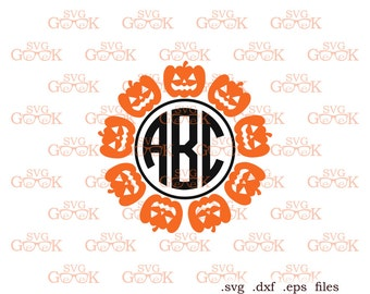 Pumpkin SVG cut files, Pumpkin Monogram svg, Halloween SVG cut files for use with Silhouette, Cricut and other Vinyl Cutters, svg files