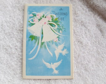 White dove blue and white wedding gift card