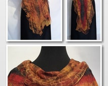 Two sided nuno felted scarf, handpainted silk wool red golden orange yellow black scarf gift for a stylish lady