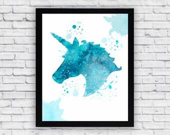 Unicorn Watercolor print, Unicorn Printable Wall Art, Unicorn wall decor, Unicorn poster