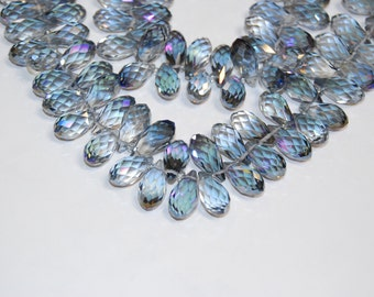 "Crystal Glass Faceted Drop Loose Beads For Jewelry Making 10x19mm 10.5"" Strand Wholesale.I-GLA-0146"