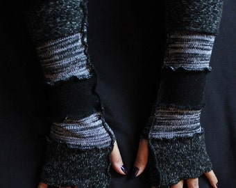The Raven Fingerless Gloves, Upcycled/Recycled Sweaters, Arm Warmers, Katwise Style, Boho, Writer's Gloves, OOAK