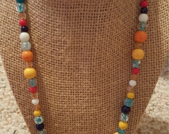 Colorful necklace with a range of colored beads and toggle clasp