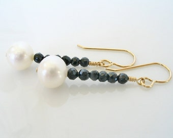 Freshwater Pearl and Black Spinel Earrings, Spinel Jewelry, Gemstone Earrings, Black White Earrings, Pearl and Gemstone, Gold Black Spinel