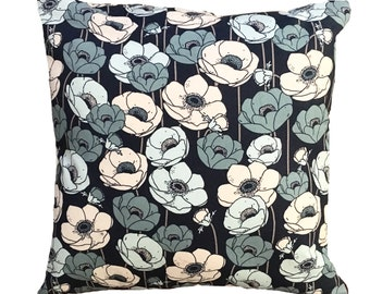 Bedtime Blossoms In Blue - Decorative Pillow 16X16