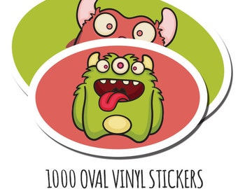 1000 Custom Stickers- Vinyl Oval Stickers - Waterproof