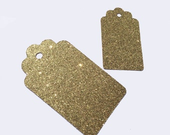 12 Scalloped Gift Tags - One Dozen - 2 Sizes Available - Gift Wrapping - Party Decoration - Glitter - Gold Foil - Gold Glitter