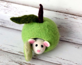 White felted mouse with green house Felted apple