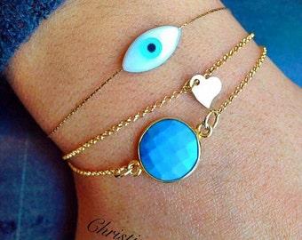 Evil Eye Jewelry, Evil Eye Bracelet, Evil Eye charm, Protection Bracelet, Heart Bracelet, Turquoise Stone Bracelet, From Sterling Silver 925