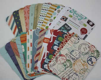 Travel Themed Handmade 3x4 Pocket Page Journal Cards Journaling Cards Scrapbooking Cards Pack of 25