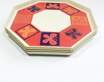 Set of 4 vintage plates, octagon plates with butterfly pattern, from the 1960s