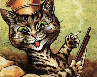 Louis Wain Vintage Cat Art Print, Famous Cat Illustrator. Original Bookplate Print, Kitten, Home Decor, Wall Hanging, Whimsical Cat Art